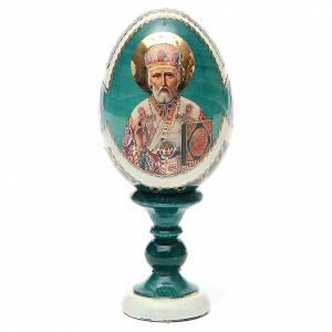 Huevos rusos pintados: Huevo ruso de madera découpage San Nicolás estilo Fabergé altura total 13 cm
