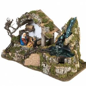 Krippe Hütten und Grotten: Hütte für Krippe Stil Berghütte mit Wasserfall 28x48x24 cm