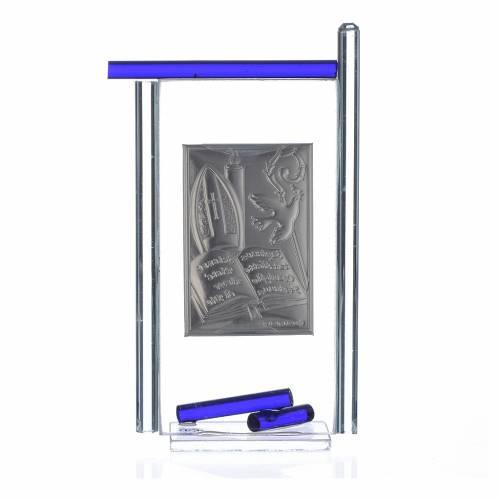 Icona Cresima  Arg. e vetro Murano Blu 13x8 cm s2