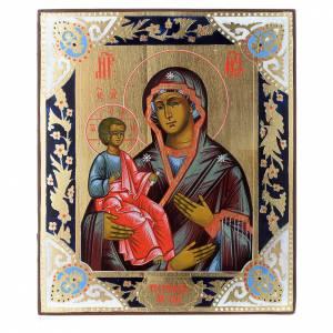 Icone Russe dipinte su tavola antica: Icona Madonna con tre mani su tavola antica