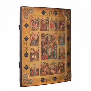 Icone Russe dipinte su tavola antica: Icona russa 12 Feste dipinta su tavola XIX sec.