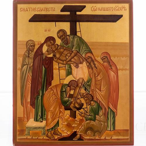 Icona russa Deposizione della croce 22x27 cm s1