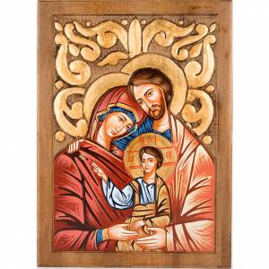Icone Romania dipinte: Icona Sacra Famiglia fondo intarsiato