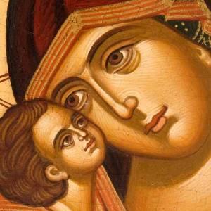 Icona religiosa Vergine della Tenerezza dipinta Grecia s2