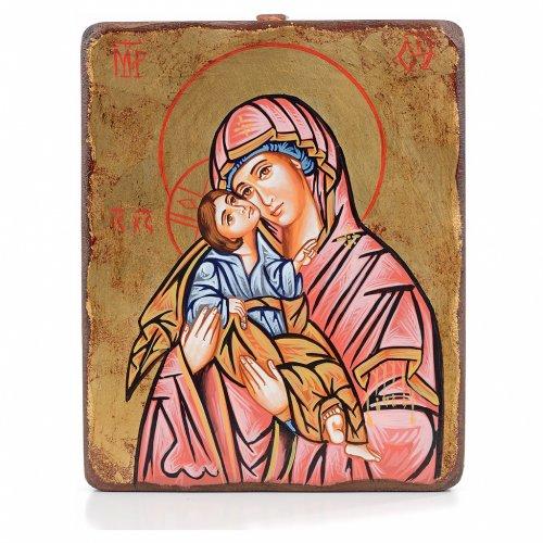 Icona Vergine della Tenerezza manto rosso antichizzata s1