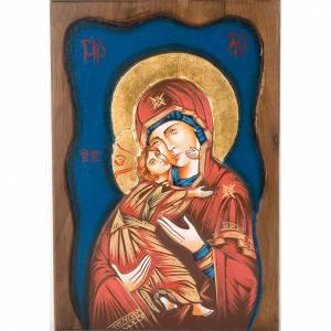 Icona Vergine di Vladimir fondo blu s1