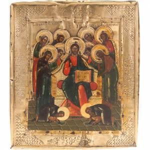 Icône ancienne Christ sur trône avec Deesis s1