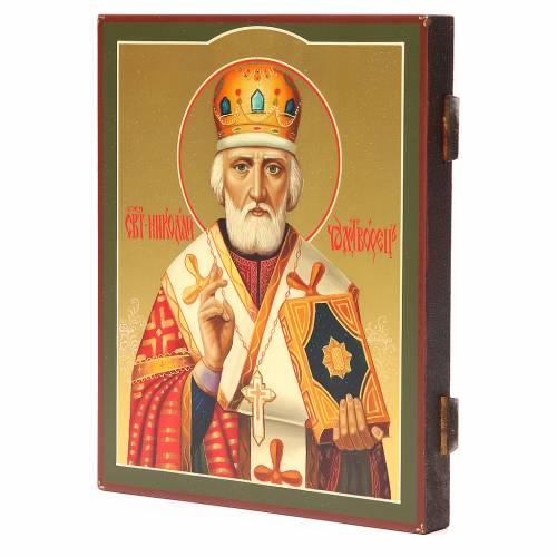 Icône russe peinte Saint Nicolas 26x22 cm s2