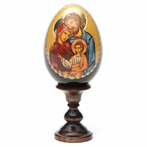 Icône Sainte famille sur oeuf en bois s1