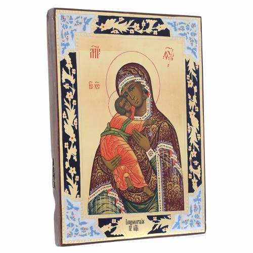 Icône Vierge de Vladimir sur planche ancienne s3