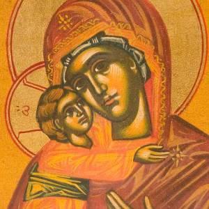 Icône Vierge Vladimir fond ocre s3