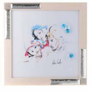 Bonbonnières: Idée cadeau aquarelle Joie Familiale 27x27 cm argent