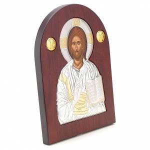 Ikonen aus Gold und Silber mit Riza: Ikone Christus bogenförmig Siebdruck Silber