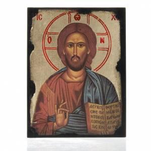 Holz, Stein gedruckte Ikonen: Ikone mit Druck von Christus Pantokrator auf Holtzafel