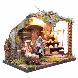 Illuminated cheese seller figurine for Neapolitan Nativity, 10cm s3