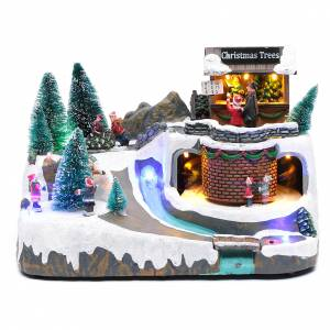 Christmas villages sets: Illuminated Christmas scene with music and movement  20x25x20 cm