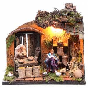 Illuminated farmer with goose figurine for Neapolitan Nativity, 12cm s1