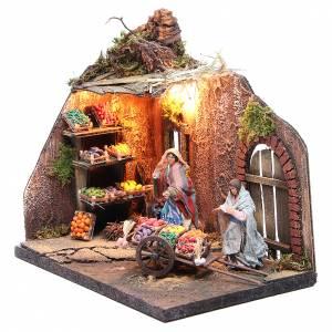 Illuminated fruit seller figurine for Neapolitan Nativity, 10cm s2