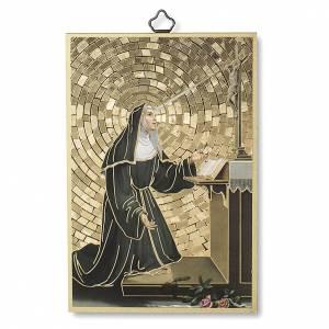 Tableaux, gravures, manuscrit enluminé: Impression sur bois Ste Rita de Cascia Prière ITA