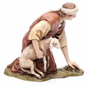 Inginocchiato con agnello 15 cm resina Moranduzzo s2