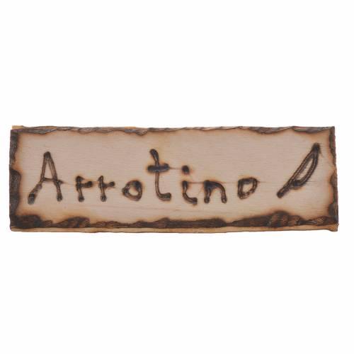 Insegna Arrotino legno per presepe 2,5x9 cm s1