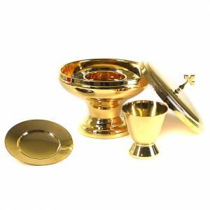 Metal Chalices Ciborium Patens: Intinction set golden brass