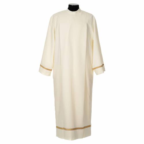 Ivory alb in polyester with golden edge s1