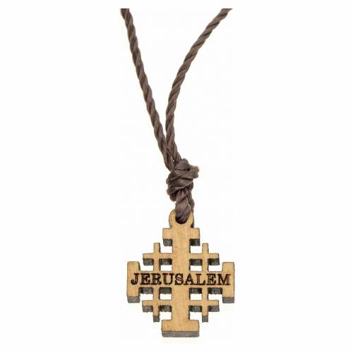 Jerusalem cross pendant in olive wood, Holy Land s1