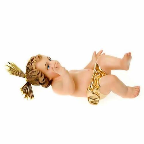 Jésus enfant, bénédiction, bois, robe dor&e s3
