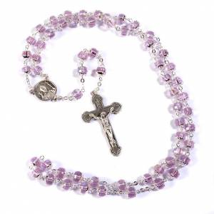John Paul II rosary with transaparent pink beads s1