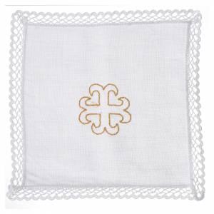 Altargarnitur: Kelchwäsche 4-teilig Kreuz verziert