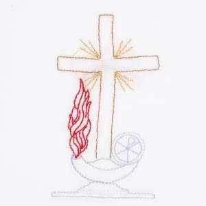 Altargarnitur: Kelchwäsche 5-teilig Kreuz Lampen