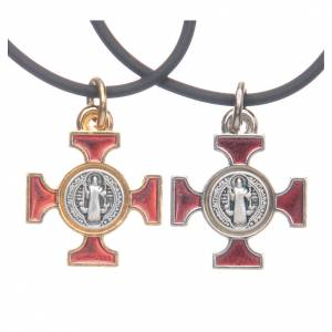 Metall Kreuzanhänger: Kette Kreuz Heilig Benediktus keltisch Rot 2x2