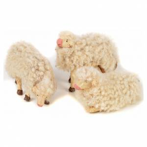 Kit 3 pecore con lana 12 cm presepe napoletano s1