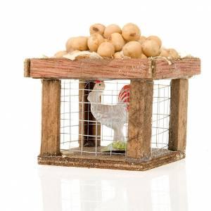Zwierzęta do szopki: Klatka z kurą i jajkami do szopki 12 cm