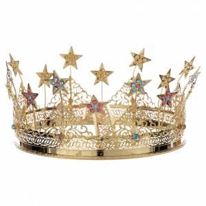 Aureole i korony do figur: Korona Matki Bożej mosiądz złocony gwiazdy i strass kolorowy