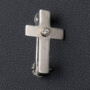 Broschen Clergyman: Kreuz clergyman klassisch Zirkon Silb. 800