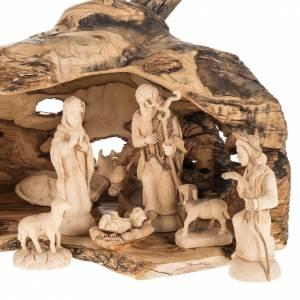 Krippe aus Olivenholz von Jerusalem: Krippe Olivenholz 14cm mit Grotte