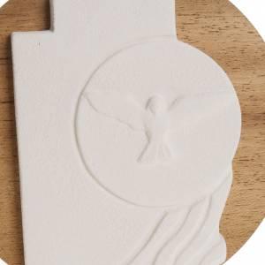 Ikony Obrazki Krzyże: Krzyż Duch Święty Bierzmowanie szamot na drewnie