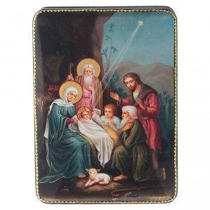 Lacca russa Papier-mâché Cristo, la nascita Fedoskino style 15x11 s1