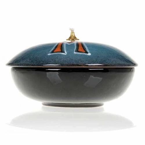 Lampe à cire liquide céramique turquoise symbole M s4