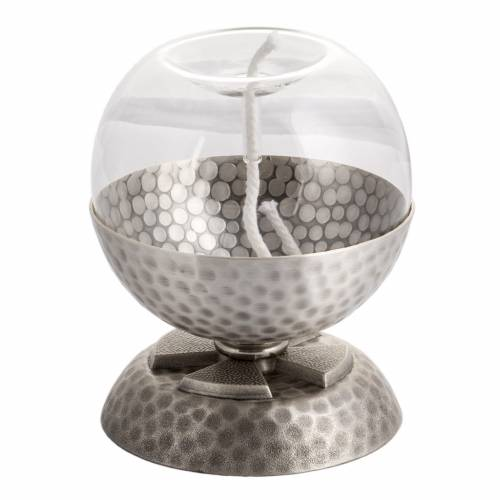 Lampe pour cire liquide en laiton martelé argenté s1