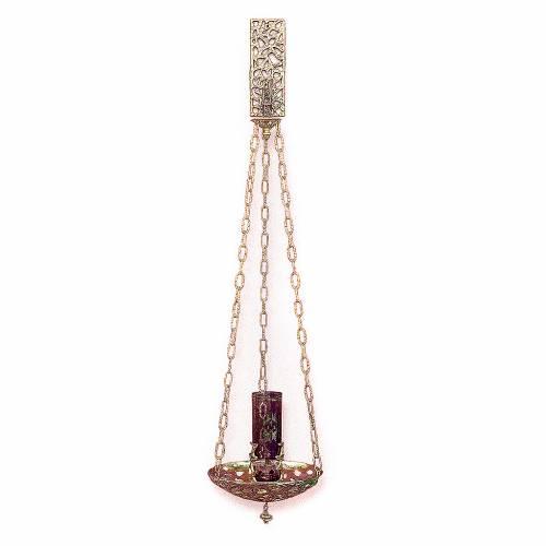 Lampe suspension Saint-Sacrement laiton doré 18 cm s1