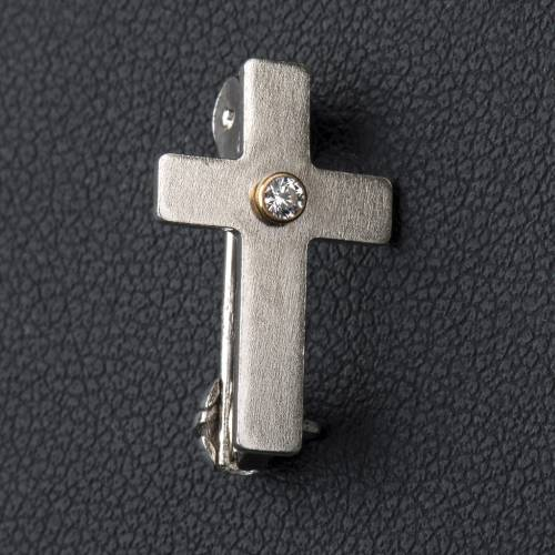 Lapel pin classic priest cross in 800 silver with zircon s2