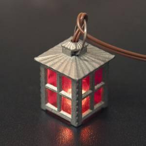 Lichter und Laterne für Krippe: Laterne aus Metall rotes Licht h 2.5 cm