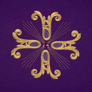Lectern Cover, embroidered golden cross with glass bead s7