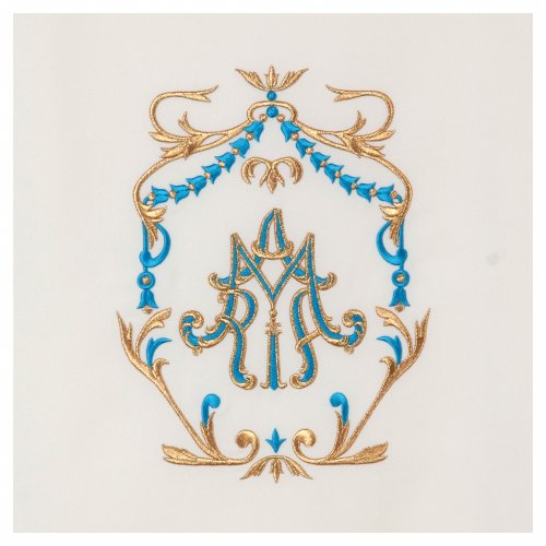 Lectern cover gold and light blue embroideries, Maria spelled s2
