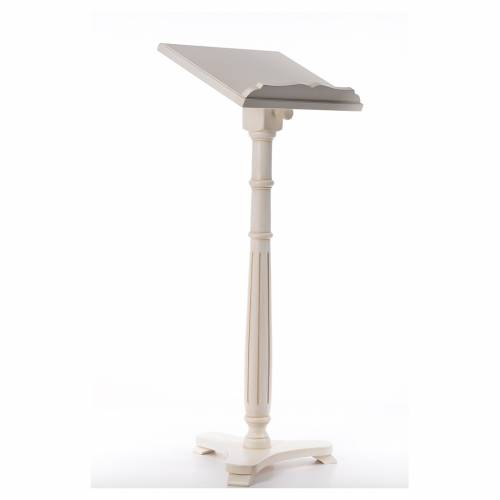 Lectern in walnut wood with round pedestal, ivory colour s4