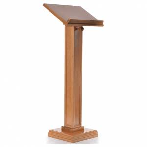 Lecterns: Lectern in walnut wood with squared pedestal, honey colour