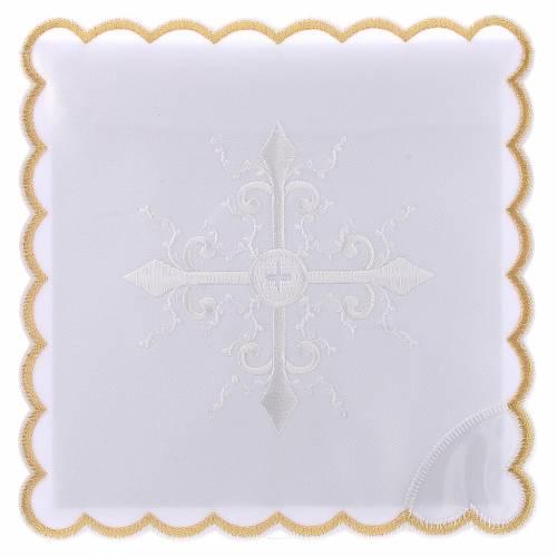 Linge autel coton broderie blanche croix baroque s1